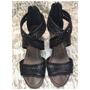 City Classified Black Women's Wedge Sandals